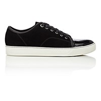 Lanvin Men's Patent Cap Toe Sneakers Black Blue Black Blue