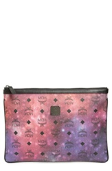 Mcm 'Medium Galaxy' Coated Canvas Zip Pouch Galaxy Print