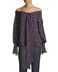 Magda Butrym Mons Long Sleeve Floral Print Off The Shoulder Blouse Purple