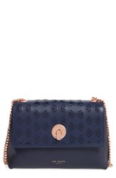 Ted Baker London Leather Crossbody Bag Blue Navy