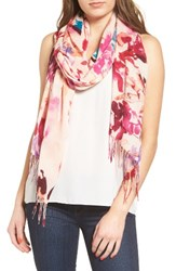 Nordstrom Women's Tropical Camo Cashmere And Wool Scarf Pink Combo