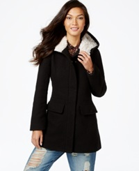Madden Girl Madden Girl Faux Fur Trim Plaid Walker Coat