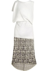 Vionnet Stretch Satin And Embroidered Mesh Midi Dress White