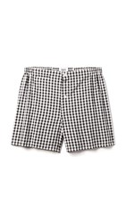 Sleepy Jones Jasper Seersucker Gingham Boxer Shorts Black