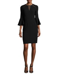Elie Tahari Garcia Bell Sleeve Sheath Dress W Mesh Inserts Black