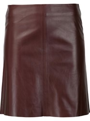 Theory Leather Skirt Red