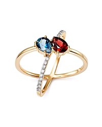 Bloomingdale's Blue Topaz And Garnet Two Stone X Band Ring With Diamonds In 14K Yellow Gold