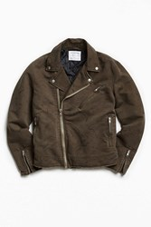 Urban Outfitters Uo Sueded Cotton Moto Jacket Khaki
