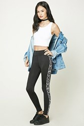 Forever 21 Happy Face Graphic Leggings Black White