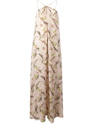 Cacharel Feather Print Long Dress Nude Neutrals