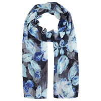 Kaliko Shadow Leaf Print Scarf Blue