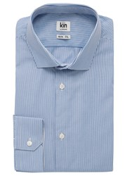 John Lewis Kin By Eldon Fine Stripe Long Sleeve Shirt Navy