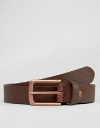 Asos Leather Belt With Rose Gold Buckle Brown