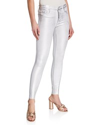 Black Orchid Noah Ankle Fray Skinny Jeans W Foil Coating Snow White