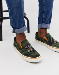 Polo Ralph Lauren Thompson Camo Suede Slip On In Olive Camo Green