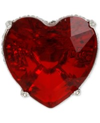 Betsey Johnson Silver Tone Big Red Crystal Heart Ring