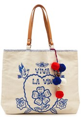 Star Mela Viva La Vida Tote With Leather Straps Beige