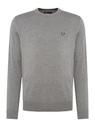 Fred Perry Men's Cotton Crew Neck Jumper Grey Marl