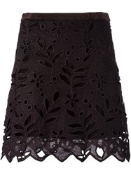 See By Chloe Floral Embroidered Skirt Brown