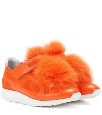 Pierre Hardy Fur Trimmed Suede Sneakers Orange