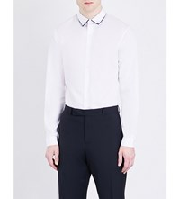 Sandro Contrast Collar Slim Fit Pure Cotton Shirt White