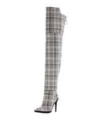 Off White Tartan Plaid Over The Knee Boot Gray Pink