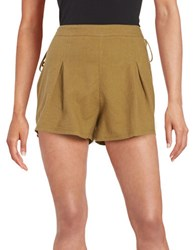 Free People Lace Up Linen Blend Shorts Green