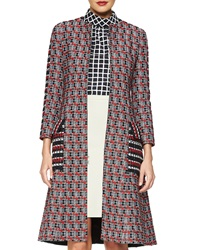 Oscar De La Renta Checked Tweed Long Coat