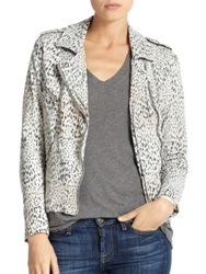 Rebecca Taylor Leopard Print Leather Motorcycle Jacket Ombre Multi