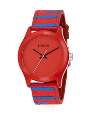 Nixon Mod Acetate And Striped Canvas Watch Red