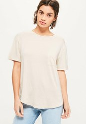Missguided Nude Basic One Pocket T Shirt Cream