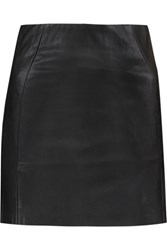 Mcq By Alexander Mcqueen Faux Leather And Stretch Jersey Mini Skirt Black
