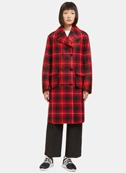 Gucci Double Breasted Tartan Coat Red
