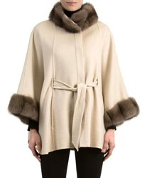 Gorski Cashmere Belted Cape With Sable Fur Black Brown