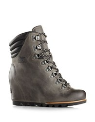 Sorel Conquest Hidden Wedge Heel Leather Booties Grey