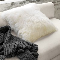 Cb2 Icelandic Sheepskin 24'' Pillow Cushion With Feather Insert
