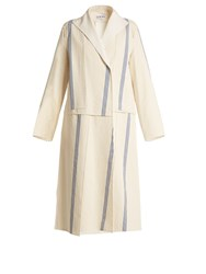 Loewe Asymmetric Striped Patchwork Cotton Coat Blue White