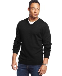 Weatherproof Solid V Neck Sweater Black