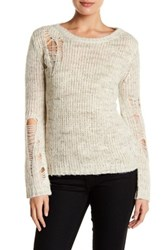 Pam And Gela Shredded Sweater White