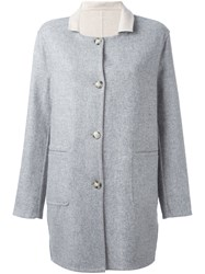 Closed Contrast Collar Short Coat Grey