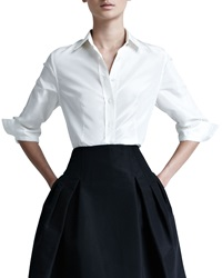 Carolina Herrera Silk Taffeta Shirt White 8