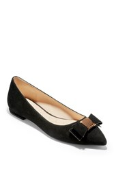Cole Haan Tali Bow Skimmer Flat Black Sued