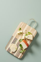 Anthropologie Wood Inlay Cheese Board Red Motif