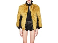 Saint Laurent Leather Trimmed Alpaca Fur Cape Yellow