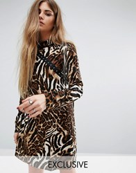 Reclaimed Vintage High Neck Dress With Hook And Eye Detail In Leopard Leopard Multi
