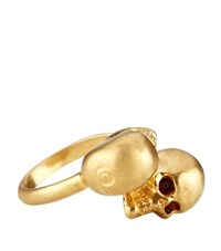 Alexander Mcqueen Twin Skull Ring Female Gold