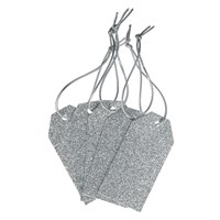 John Lewis Glitter Gift Tags Pack Of 5 Silver