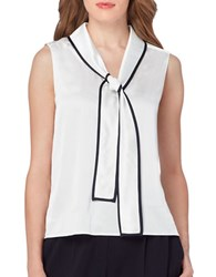 Tahari By Arthur S. Levine Contrast Tie Front Sleeveless Woven Top Ivory