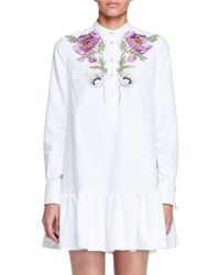Alexander Mcqueen Floral Embroidered Pique Tunic Dress White