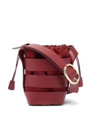 Paco Rabanne Cage Leather And Suede Bucket Bag Burgundy